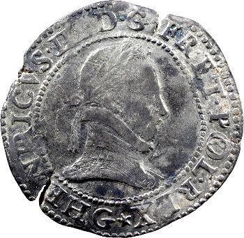 Henri III, franc au col plat, 1578 Poitiers