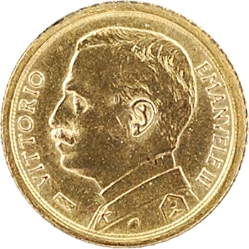 Italie, Victor-Emmanuel III, réduction en or de la 100 lire, 1912 Rome