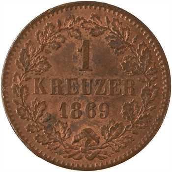 Allemagne, Bade (Grand-duché de), Frédéric Ier, 1 kreuzer, 1869