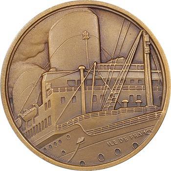 IVe République, Compagnie Générale Transatlantique (C.G.T.), le paquebot Île de France, par J. Vernon, s.d. Paris