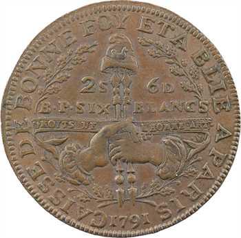 Constitution, Caisse de Bonne Foi, 6 blancs ou 2 sols 6 deniers, An 3, 1791 Paris