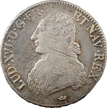 Louis XVI, écu aux branches d'olivier, 1786 Toulouse