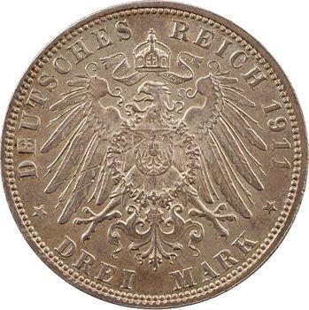 Allemagne, Bavière (royaume de), Prince-régent Luitpold, 3 mark, 1911 Munich