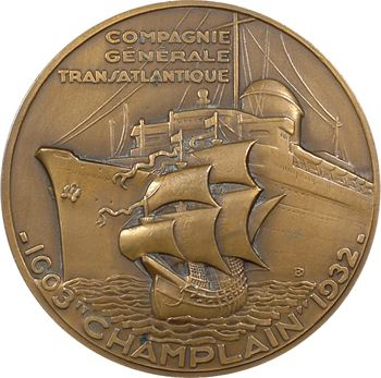 IIIe République, Compagnie Générale Transatlantique (C.G.T.), le paquebot Champlain, par Delamarre, grand module, 1932 Paris