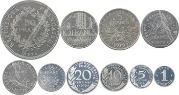 Ve République, coffret des 10 piéforts en argent, avec certificats, 1979 Pessac