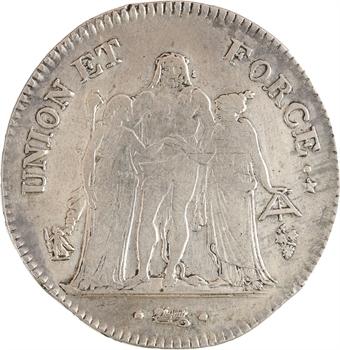 Directoire, 5 francs Union et Force, An 6 Perpignan