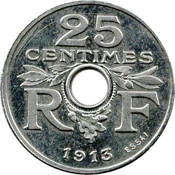 IIIe République, essai de 25 centimes par Guis, petit module, 1913 Paris