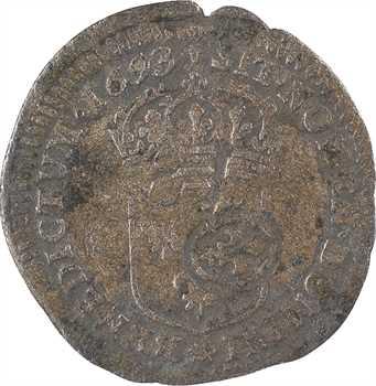Louis XIV, quinzain aux huit L contremarqué, 1693 Dijon