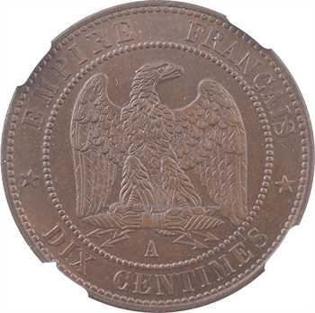 Second Empire, dix centimes tête nue, 1853 Paris, NGC MS65BN