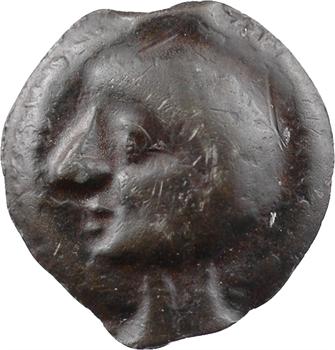Leuques, potin à la tête chauve et au sanglier, c. Ier s. av. J.-C.