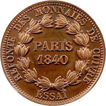 Louis-Philippe Ier, essai de 5 centimes, refonte des monnaies de cuivre, 1840 Pa