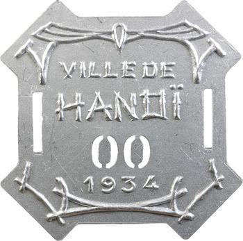 Indochine, Tonkin, Hanoï, plaque de taxe n° 00, 1934