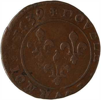 Louis XIII, double tournois, 1639 Vallée du Rhône