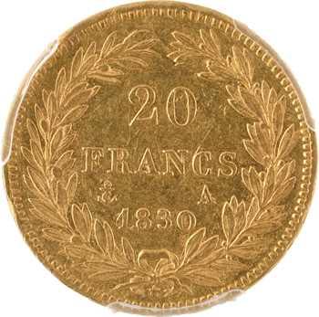 Louis-Philippe Ier, 20 francs Tiolier, tranche en creux, 1830 Paris, PCGS AU50