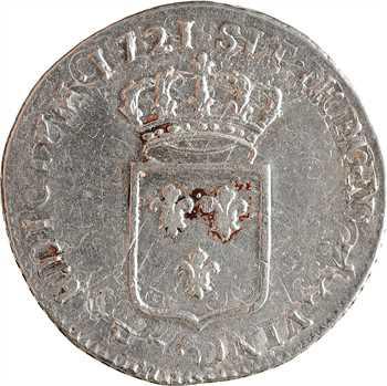 Louis XV, tiers d'écu de France, 1721 Rennes