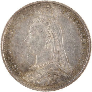 Royaume-Uni, Victoria, six pence, 1889 Londres