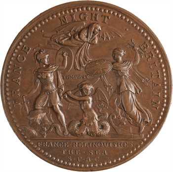 Royaume-Uni, Georges II, la victoire navale de Hawke dans la baie de Quiberon (devant Belle-Ile), par Kirk, 1759 Londres