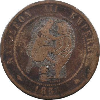 Second empire, monnaie satirique et satyrique sur une dix centimes tête nue