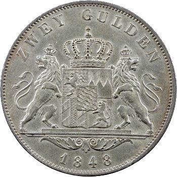 Allemagne, Bavière (royaume de), Maximilien II Joseph, 2 florins, 1848 Munich