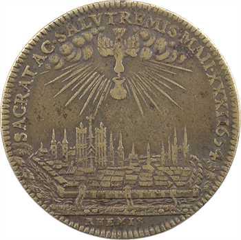 Louis XIV, sacre à Reims le 7 juin 1654, laiton, 1654 Paris