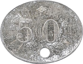 Algérie, les mines de Taghit (Constantine), 50 centimes perforé, s.d