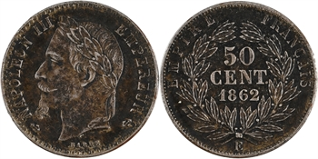 Second Empire, paire d'essais unifaces de 50 centimes tête laurée, 1862 Paris