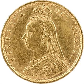 Royaume-Uni, Victoria, demi-souverain, 1890 Londres