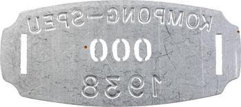 Indochine, Cambodge, Kompong-Speu, plaque de taxe n° 000, 1938