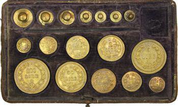 Italie, boîte de vérification des monnaies et poids italienne, c.1853