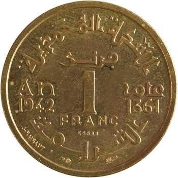 Maroc, Mohammed V, essai de 1 franc, AH 1361 (1942) Paris