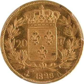 Charles X, 20 francs, 5 feuilles, 1828 Paris, PCGS MS63+