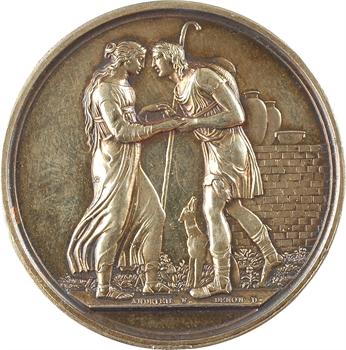 Charles X, médaille de mariage en argent (Marquis de Montaigne Poncins), par Andrieu, 1829 Paris