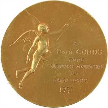 Aviation : l'aéro-club de France à Paul Codos (carrière aéronautique et Hanoï-Paris), par Marcus, en OR, 1931 Paris
