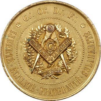 Grand Orient de France, cliché uniface de médaille maçonnique, s.d. (c.1870) Paris
