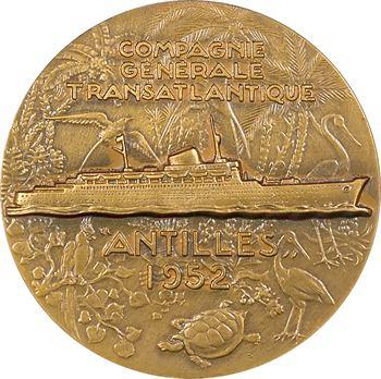 IVe République, Compagnie Générale Transatlantique (C.G.T.), le paquebot Antilles, par Delamarre, 1952 Paris