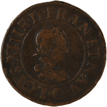 Louis XIII, double tournois 3e type, 1624 Riom