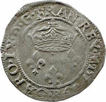 Charles IX, double sol parisis 1er type, 1570 Villeneuve-lès-Avignon