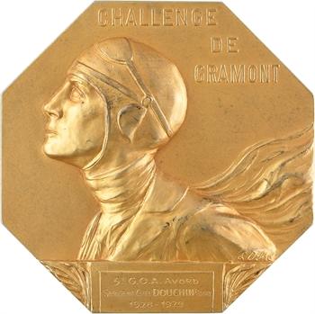Aviation : Challenge de Gramont, par Louise Ochsé, en vermeil, 1929 Paris