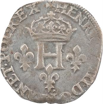 Henri III, double sol parisis, 2e type, 1578 Troyes