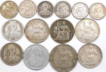 Indochine, lot de 14 exemplaires, de 10 à 50 centimes, 1914 à 1946