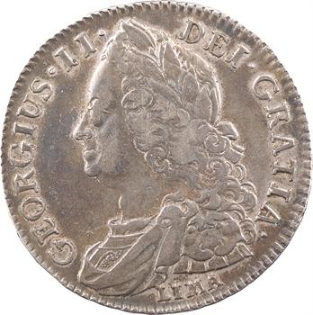 Grande-Bretagne, Georges II, demi-couronne (halfcrown) à la vieille tête, LIMA, 1745 Londres