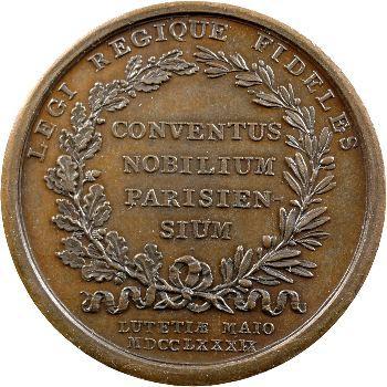 Louis XVI, médaille, Assemblée de la noblesse de Paris, avril-mai 1789 Paris