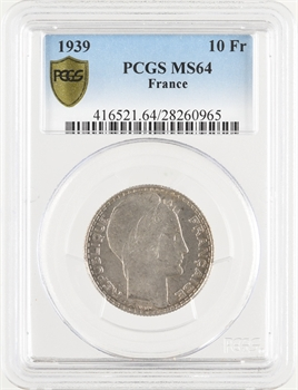 IIIe République, 10 francs Turin, 1939 Paris, PCGS MS64