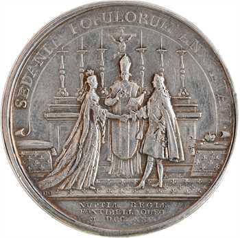 Louis XVI, prix de la bonne fille et du bon vieillard, par Gatteaux, revers du mariage de Louis XV et Marie Leszczynska, s.d. Paris