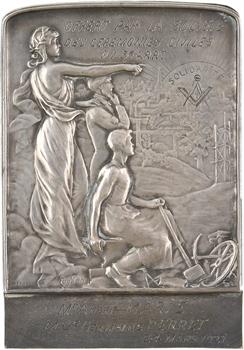IIIe République, plaquette de mariage, cérémonie civile (symbole maçonnique), par Eugène Petiot, 1921