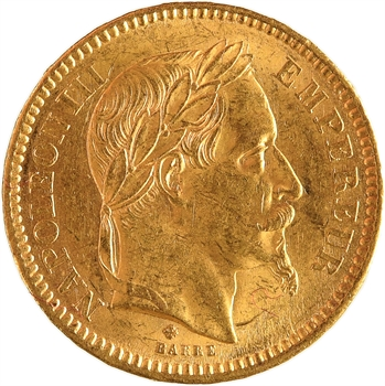Second Empire, 20 francs tête laurée, grand BB, 1864 Strasbourg