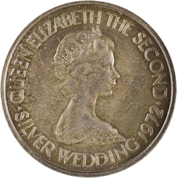 Jersey, Elisabeth II, 2 pounds (2 livres), 25e anniversaire de mariage avec le Prince Philip, 1972 Londres