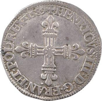 Henri III, quart d'écu croix de face, 1589 Châlons-en-Champagne