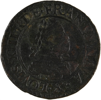 Louis XIII, double tournois 1er type, 1614 Amiens