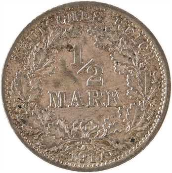 Allemagne, 1/2 mark Empire, 1917 Berlin